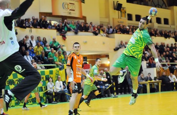 A zöld-sárga mezes OFKSE 24 góllal lepte meg a világ egyik legjobb védelmével rendelkező Pick Szeged gárdáját (Fotó: Rajki Judit)